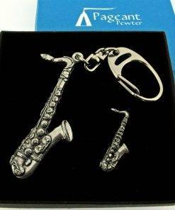 Saxophone Keyring Gift Set - high quality pewter gifts from Pageant Pewter