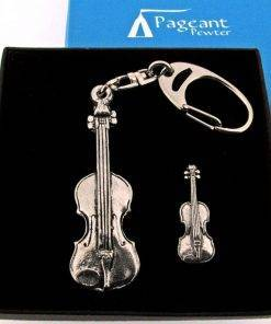Violin Keyring Gift Set - high quality pewter gifts from Pageant Pewter