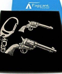 Colt 45 Pistol Keyring Gift Set - high quality pewter gifts from Pageant Pewter