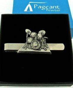 Drumkit Tie Clip - high quality pewter gifts from Pageant Pewter