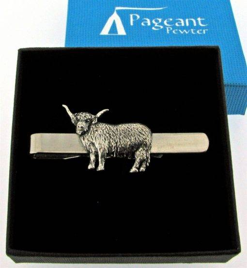 Highland Cow Tie Clip - high quality pewter gifts from Pageant Pewter