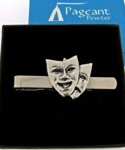 Theatrical Masks Tie Clip - high quality pewter gifts from Pageant Pewter