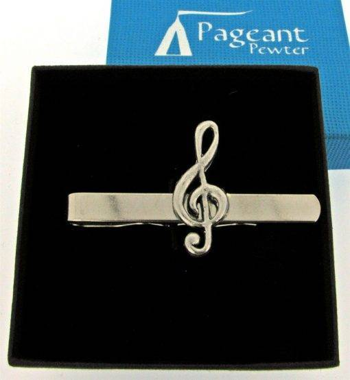Treble Clef Tie Clip - high quality pewter gifts from Pageant Pewter