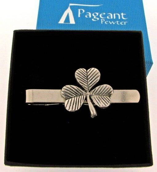 Shamrock Tie Clip - high quality pewter gifts from Pageant Pewter