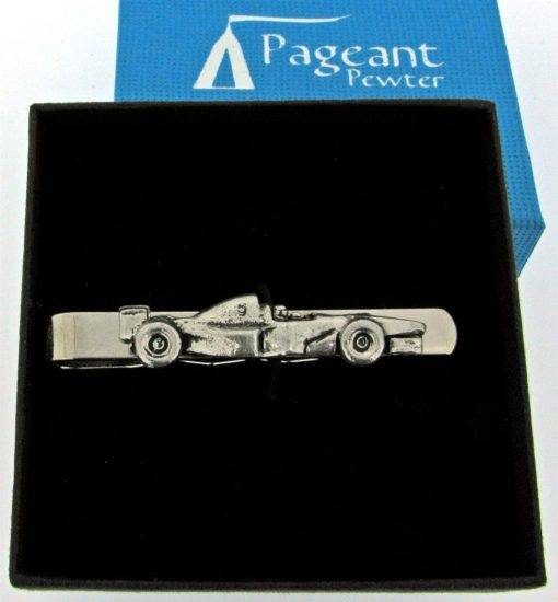 Racing Car tie Slide - high quality pewter gifts from Pageant Pewter