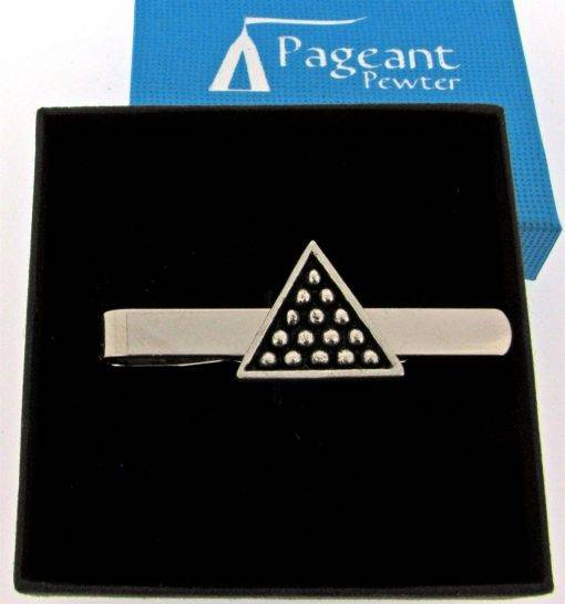 Snooker Triangle Tie Clip - high quality pewter gifts from Pageant Pewter