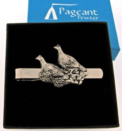 Brace of Grouse Tie Clip - high quality pewter gifts from Pageant Pewter