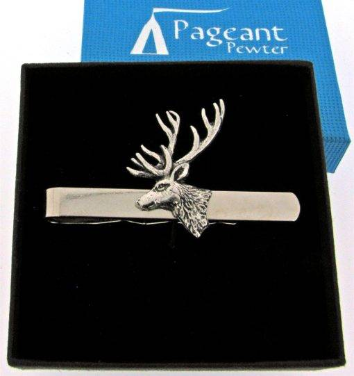 Stag's Head Tie Clip - high quality pewter gifts from Pageant Pewter