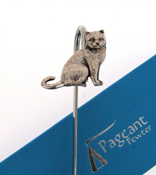 Cat Bookmark - high quality pewter gifts from Pageant Pewter