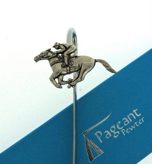 Race Horse and Jockey Bookmark - high quality pewter gifts from Pageant Pewter