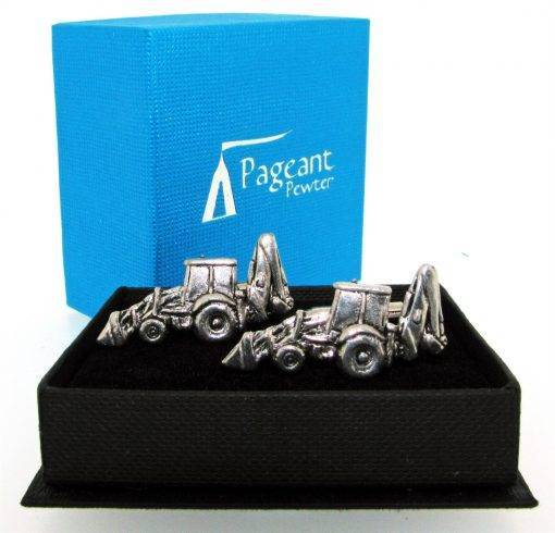 Excavator Cufflinks - high quality pewter gifts from Pageant Pewter