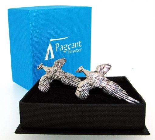 Pheasant Cufflinks - high quality pewter gifts from Pageant Pewter