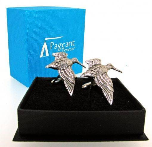 Woodcock Cufflinks - high quality pewter gifts from Pageant Pewter