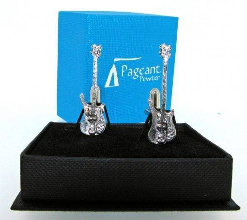 Bass Guitar Cufflinks - high quality pewter gifts from Pageant Pewter