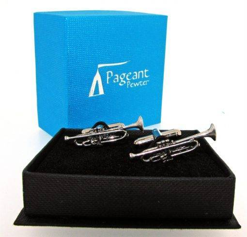 Trumpet Cufflinks - high quality pewter gifts from Pageant Pewter