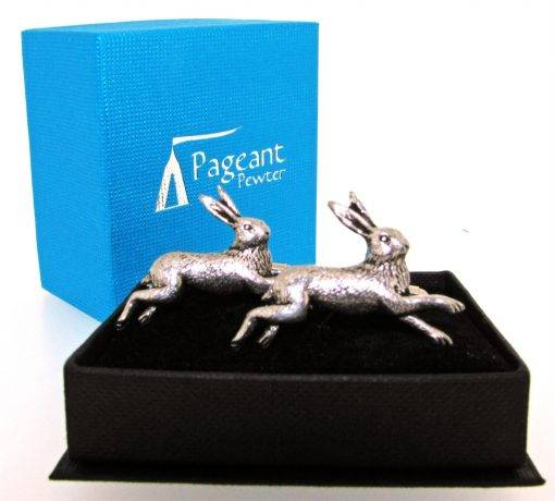 Hare Cufflinks - high quality pewter gifts from Pageant Pewter