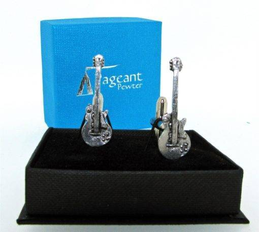 Electric Guitar G Cufflinks - high quality pewter gifts from Pageant Pewter