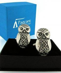 Owl Cufflinks - high quality pewter gifts from Pageant Pewter