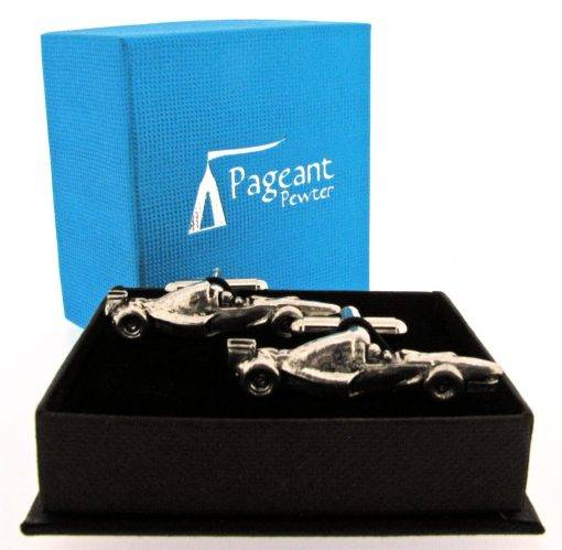 Racing Car Cufflinks - high quality pewter gifts from Pageant Pewter