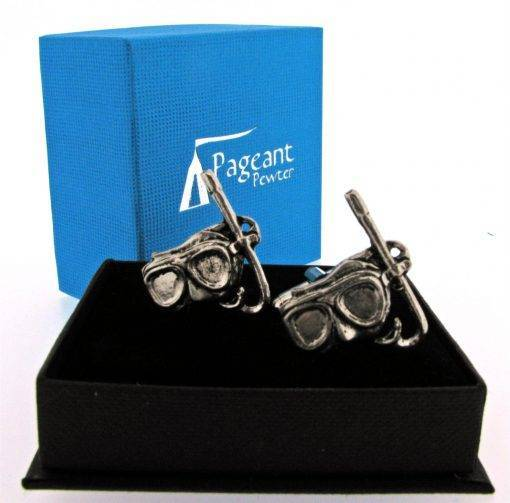 Mask and Snorkel Cufflinks - high quality pewter gifts from Pageant Pewter