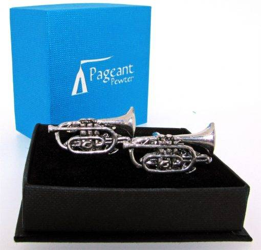 Cornet Cufflinks - high quality pewter gifts from Pageant Pewter