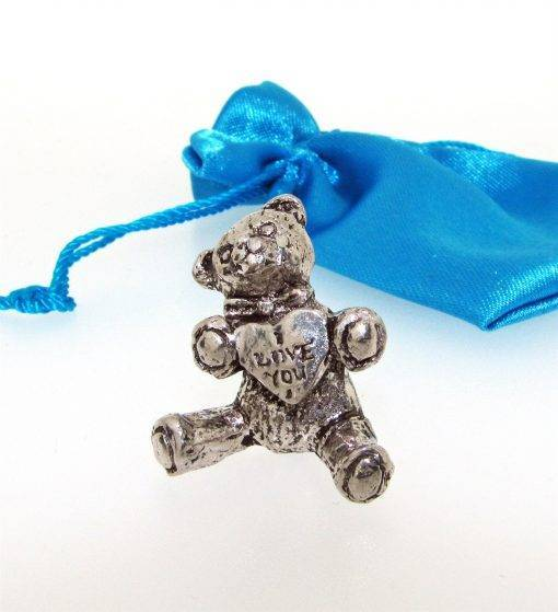 I Love You Teddy Miniature - high quality pewter gifts from Pageant Pewter