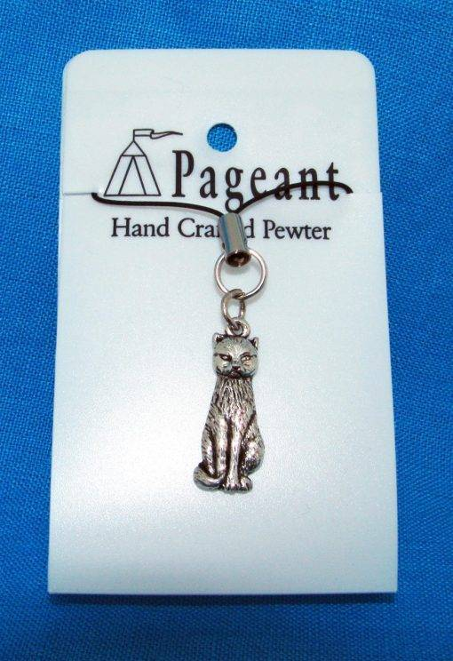 Cat Phone / Bag Charm - high quality pewter gifts from Pageant Pewter