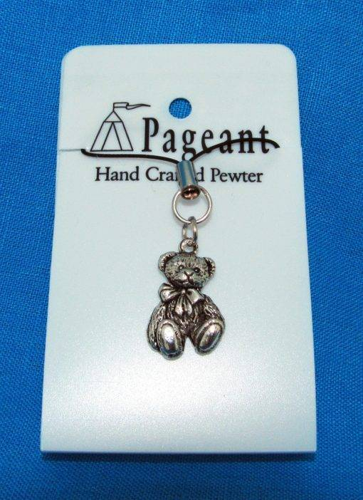 Teddy Phone / Bag Charm - high quality pewter gifts from Pageant Pewter