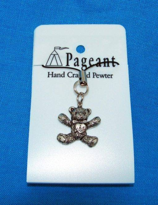 I Love You Teddy Phone / Bag Charm - high quality pewter gifts from Pageant Pewter
