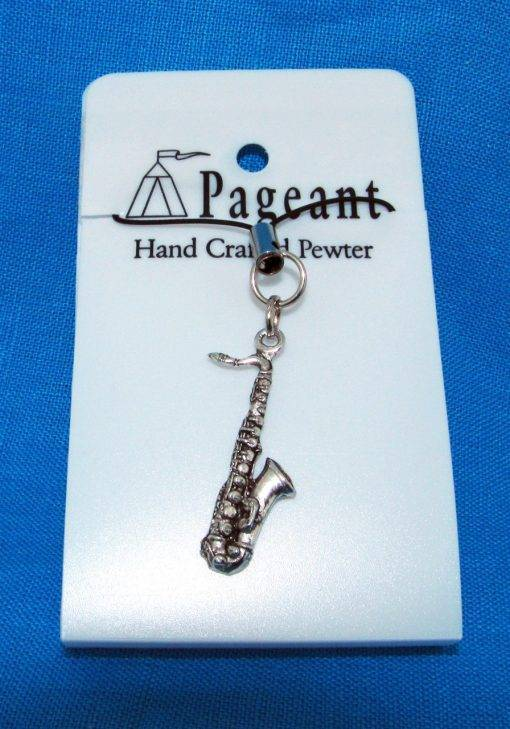 Saxophone Phone / Bag Charm - high quality pewter gifts from Pageant Pewter