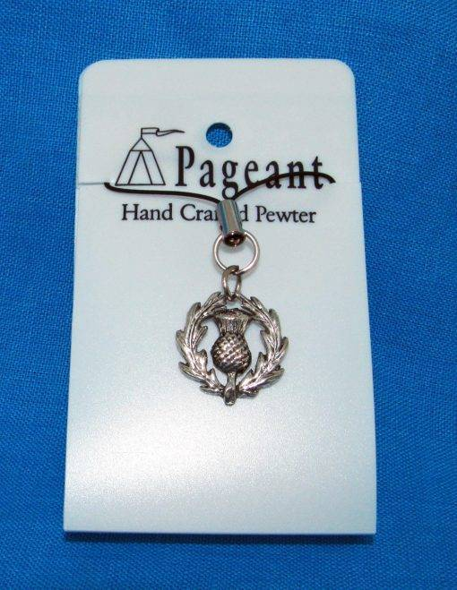 Thistle Phone / Bag Charm - high quality pewter gifts from Pageant Pewter