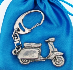 Scooter L Keyring - high quality pewter gifts from Pageant Pewter