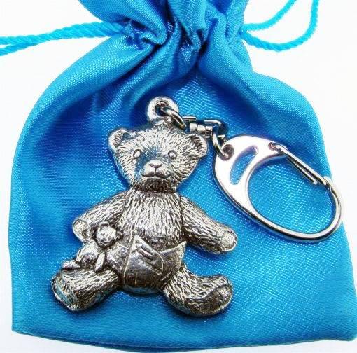 Pewter Teddy Bear Key Chain