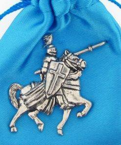 Mounted Knight Pin Badge - high quality pewter gifts from Pageant Pewter