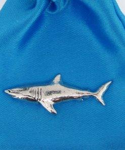 Shark Pin Badge - high quality pewter gifts from Pageant Pewter