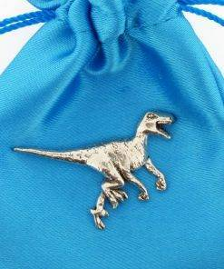Velociraptor Pin Badge - high quality pewter gifts from Pageant Pewter