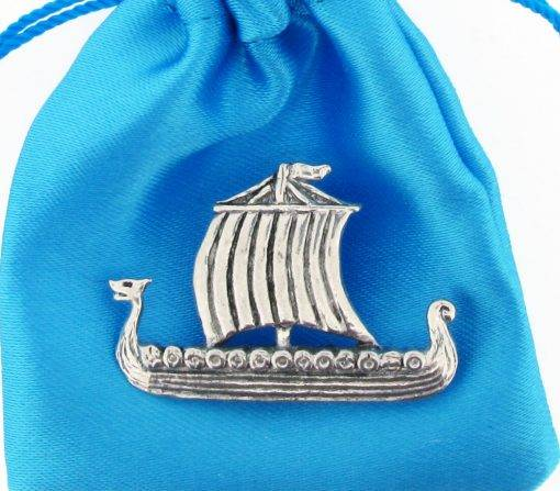 Viking Longship Pin Badge - high quality pewter gifts from Pageant Pewter