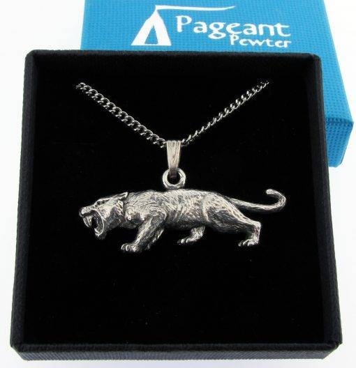 Sabre Tooth Tiger Pendant - high quality pewter gifts from Pageant Pewter