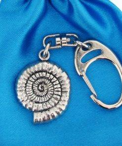 Ammonite Small Keyring - high quality pewter gifts from Pageant Pewter