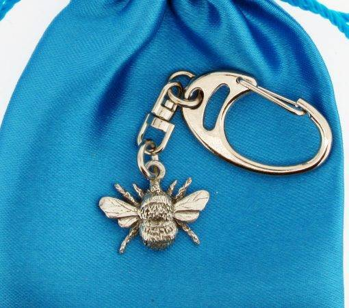 Bee Small Keyring - high quality pewter gifts from Pageant Pewter