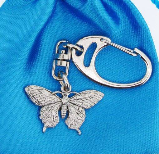 Butterfly Small Keyring - high quality pewter gifts from Pageant Pewter