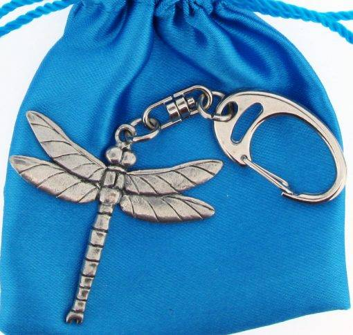 Dragonfly Small Keyring - high quality pewter gifts from Pageant Pewter