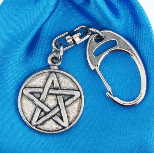 Pentangle Small Keyring - high quality pewter gifts from Pageant Pewter