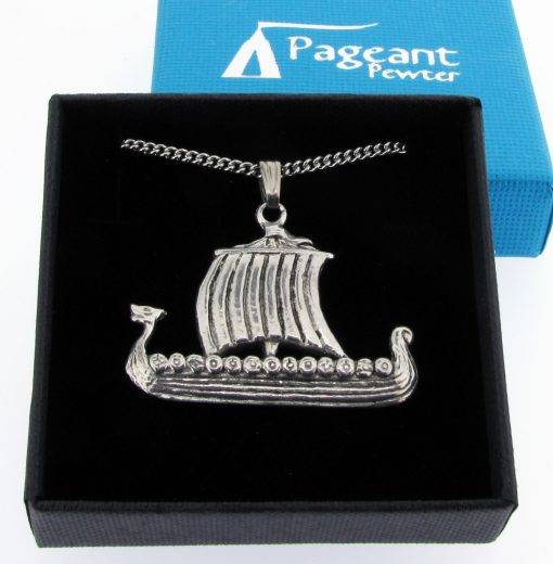 Viking Longship Pendant - high quality pewter gifts from Pageant Pewter