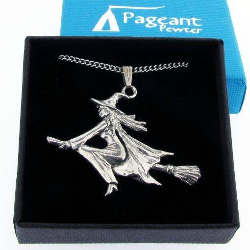 Witch Pendant - high quality pewter gifts from Pageant Pewter